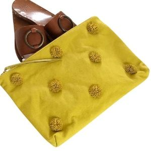 Banana Republic Mustard Canvas & Leather Clutch